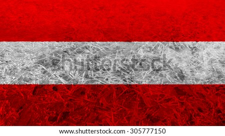 Flag of Austria, Austrian flag made from ice texture. - stock photo