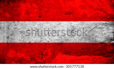Flag of Austria, Austrian flag painted on plywood texture. - stock photo