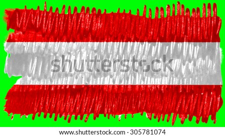 Flag of Austria, Austrian flag painted with brush on green background, pint texture. - stock photo