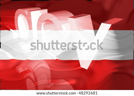 Flag of Austria, national country symbol illustration wavy gov government website