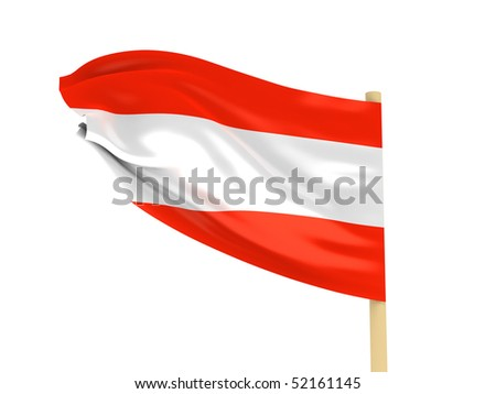 Flag of Austria on pole isolated on white background. High quality 3d render.