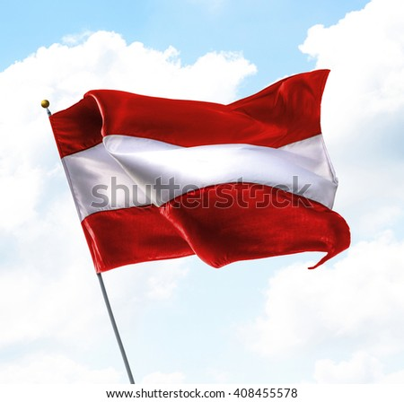 Flag of Austria Raised Up in The Sky - stock photo