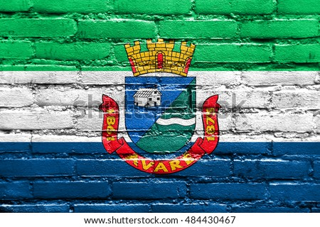 Flag of Avare, Sao Paulo State, Brazil, painted on brick wall