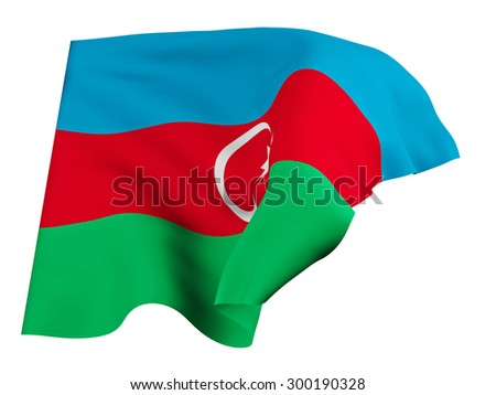 Flag of Azerbaijan,isolated, waving in the wind