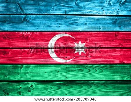 Flag of Azerbaijan on wooden wall - stock photo