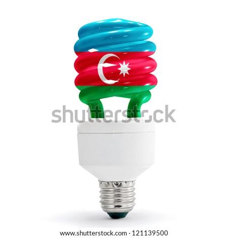 Flag of Azerbaijan with energy saving lamp on white background. - stock photo