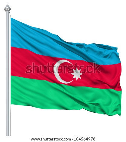 Flag of Azerbaijan with flagpole waving in the wind against white background