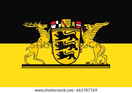 Flag Baden Wuerttemberg State Germany Located Southwest Stock