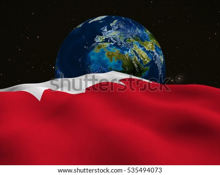Flag of Bahrain, traveling between galaxies, is looking at planet earth-3D Rendering