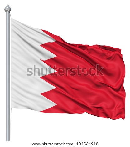 Flag of Bahrain with flagpole waving in the wind against white background