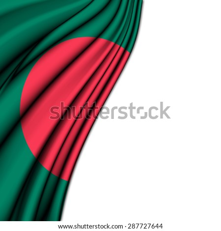 Flag of Bangladesh , in silk  with folded soft waves to make room at the white background - stock photo