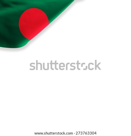 Flag of Bangladesh located in the corner page - stock photo