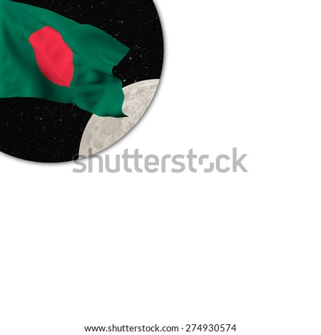 Flag of Bangladesh waving in the starry space with the moon in a porthole on a white background - stock photo