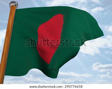 Flag of Bangladesh waving winning in the blue sky - stock photo