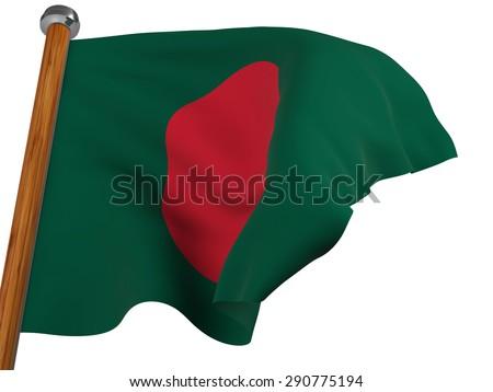 Flag of Bangladesh waving winning on white background - stock photo