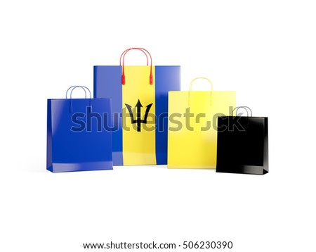 Flag of barbados on shopping bags. 3D illustration