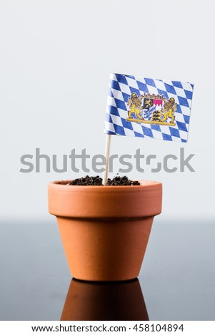 flag of bavaria in a plant pot, concept economy growth