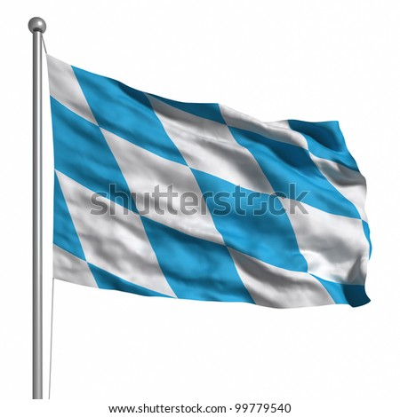 Flag of Bavaria. Rendered with fabric texture (visible at 100%).  Clipping path included. - stock photo