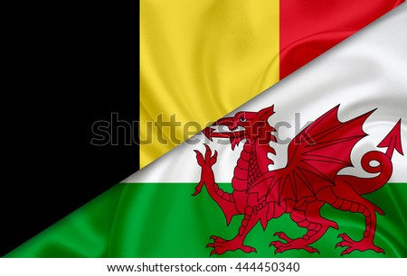 Flag of Belgium and flag of Wales - stock photo