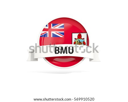 Flag of bermuda with banner and country code isolated on white. 3D illustration