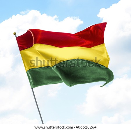 Flag of Bolivia Raised Up in The Sky