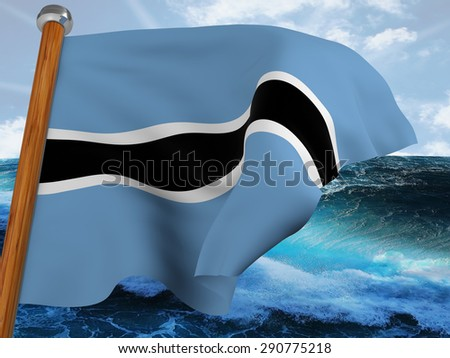 Flag of Botswana waving winning with background of bubbly sea and blue sky