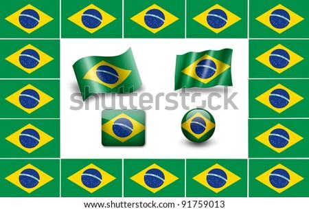 flag of Brazil. Brazilia flag. icon set - stock photo