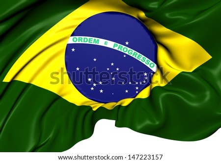Flag of Brazil. Close Up.