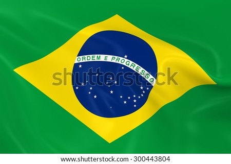 Flag of Brazil - 3D Render of the Brazilian Flag with Silky Reflective Texture