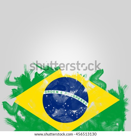 flag of Brazil, digital art Watercolor background effect.