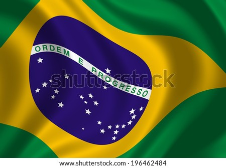 Flag of Brazil fluttering on a wind. Close up