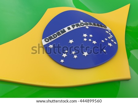 Flag of Brazil in 3D, 3D-Rendering