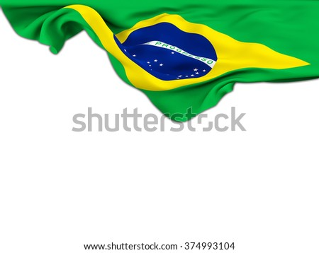 Flag of Brazil moved by the wind leaning on a white background