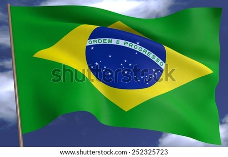 flag of Brazil on the background of the sky 3D