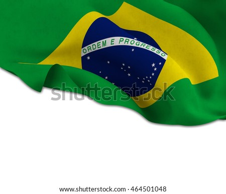 Flag of Brazil waving on a white background left for your creativity-3d rendering