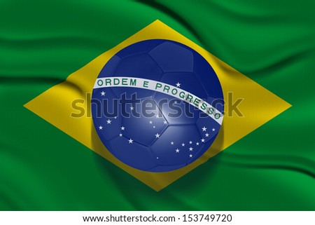 Flag of Brazil with a ball - stock photo