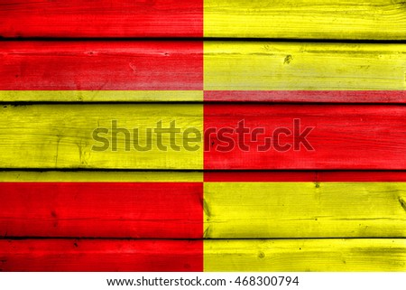 Flag of Briceni, Moldova, painted on old wood plank background