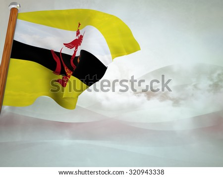Flag of Brunei floating in the wind on abstract background - stock photo