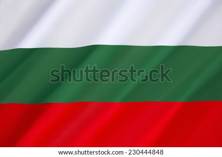 Flag of Bulgaria - adopted after the Russo-Turkish War (1877 - 1878), where Bulgaria gained independence. The current flag was re-established in 1991 and was confirmed in a 1998 law. - stock photo