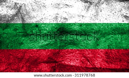 Flag of Bulgaria, Bulgarian flag painted on wool texture. - stock photo