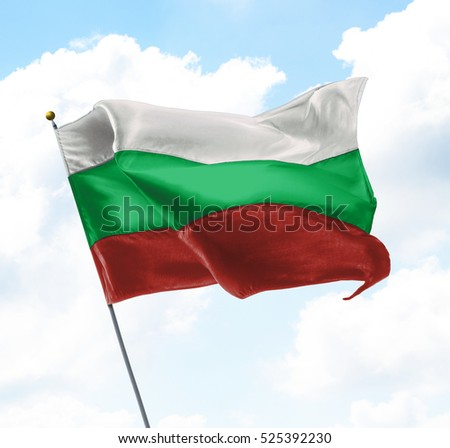 Flag of Bulgaria Raised Up in The Sky