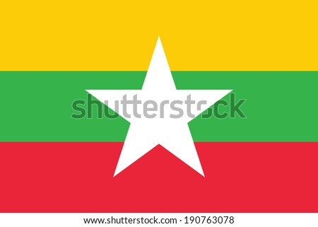 Flag of Burma (the Republic of the Union of Myanmar). Accurate dimensions, elements proportions and colors.