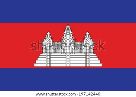 Flag of Cambodia. Accurate dimensions, element proportions and colors. - stock photo