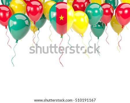 Flag of cameroon, with balloons frame isolated on white. 3D illustration