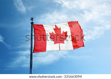 Flag of Canada on the mast