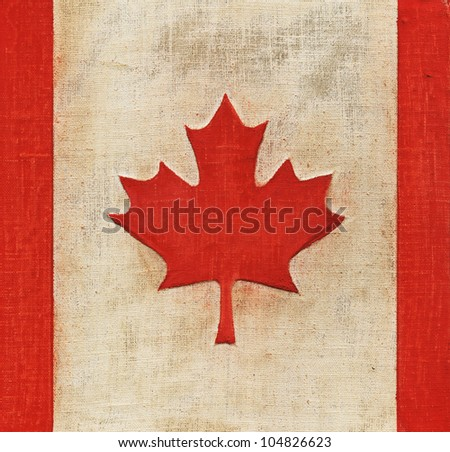Flag of Canada painted on fabric