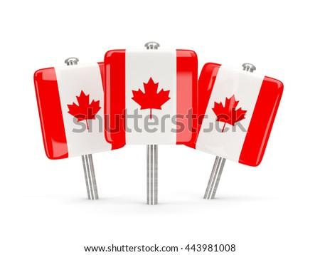 Flag of canada, three square pins. 3D illustration - stock photo