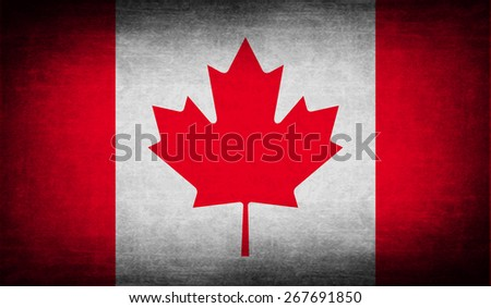 Flag of Canada with old texture.  illustration - stock photo