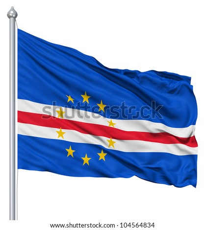 Flag of Cape Verde with flagpole waving in the wind against white background