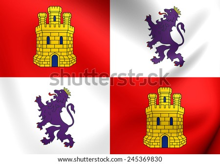Flag of Castile and Leon, Spain. Close Up. - stock photo